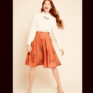 ModCloth A-Line Orange Floral High Waisted Skirt